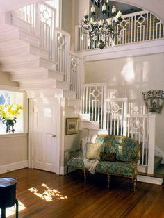 Cantilevered Stairway  Designers refer to repeated patterns as a visual rhythm. Such patterns create movement and strengthen the design statement of a room. This daringly cantilevered stairway climbs to the highest levels of craftsmanship. Visual rhythm is created via the stunning balustrade.