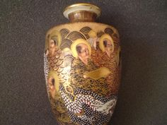 Fine quality heavily gilded signed miniature satsuma pottery vase thousand faces