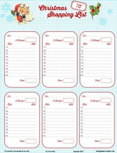 Free Printable Download    Retro Christmas Shopping List
