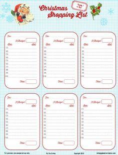 Free Printable Download Retro Christmas Shopping List