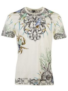 VERSACE White T-Shirt Versace Collection - Multicolor Print. #versace #cloth #topwear