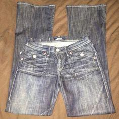 Dark wash jeans Great condition, dark wash jeans w/pink hardware/details. Rock & Republic Jeans Boot Cut