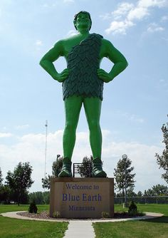 World's Largest Jolly Green Giant is  55-feet tall - ho ho ho!  A creation of F.A.S.T Corp in Blue Earth, Minnesota.