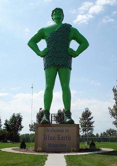 World's Largest Jolly Green Giant    55-feet tall - ho ho ho!  A creation of F.A.S.T Corp  Blue Earth, Minnesota    A giant GIANT!