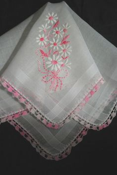 Vintage Handkerchief Embroidered Pink and White Daisies Hand Crochet Hanky | eBay