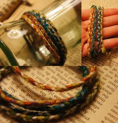 Handmade bracelets by me! Just pretty colored yarn braided! So cute! and super easy diy!