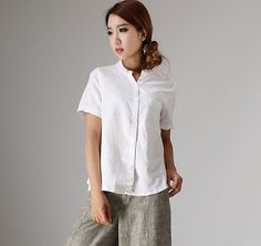 White linen blouse short sleeve tops 98611 by xiaolizi on Etsy