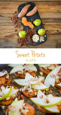 Sweet Potato Flats - At every holiday party, these are the first appetizers to go! Sweet potatoes topped with pear, gorgonzola & pecans. Great for clean eaters!