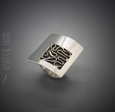 Handmade minimalist unique different design silver ring textured. Artistic jewelry