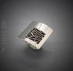 Handmade minimalist unique different design silver ring textured. Artistic jewelry