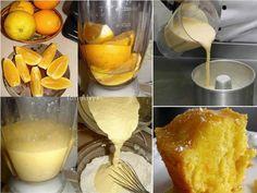 1 Laranja baia com casca (não possui sementes e sua casca é grossa) 3 Gemas 1 Xícara de chá de óleo 3 Claras em neve firme 2 Xícaras de chá de açúcar 2 Xícara de chá de farinha de trigo 1 colher de sopa de fermento em pó Calda 2 Laranjas (suco ) 4 Colheres de sopa de açúcar (ou à gosto) Modo de Preparo Liquidificador Bater uma laranja com casca (sem miolo e sem caroço) 3 Gemas 1 Xícara de óleo. Batedeira 2 Xícaras de farinha de trigo 2 Xícaras de açúcar e o que foi batido no liquidific
