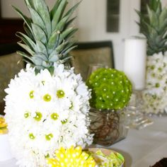 Pineapple party at the pool? Pineapple Kitchen, Pineapple Juice, Flower Centerpieces, Flower Arrangements, Pineapple Flowers, Different Flowers, Island Weddings, Cocktail Drinks, Coconut Water