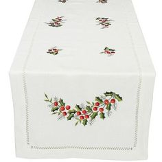 """Xia Home Fashions Holly Berry Embroidered Hemstitch Holiday Table Runner Size: 28"""" W x 12"""" L"""