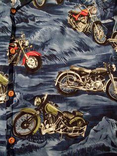 Paradise Found Hawaiian Shirt Small Motorcycles Magnum PI Tom Selleck Blue  #ParadiseFound #Hawaiian