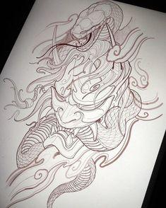 Oriental Tattoo Snake Black And Gray Tattoos Oriental tattoo snake - Oriental Tattoo Snake Black - Tattoo MAG Oni Tattoo, Hanya Tattoo, Samurai Tattoo, Tattoo Arm, Japanese Demon Tattoo, Japanese Sleeve Tattoos, Buddha Tattoos, Half Sleeve Tattoos Designs, Full Sleeve Tattoos