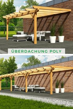 Premium Terrassenüberdachung mit Polycarbonat Premium Roofing Poly: The wooden terrace roofing is sturdy and offers your terrace many years of safe protection! The patio roof is in classic design and fits your home! Pergola Design, Pergola Patio, Diy Patio, Backyard, Wood Pergola, Patio Ideas, Pavillion, Getaway Cabins, Roof Structure