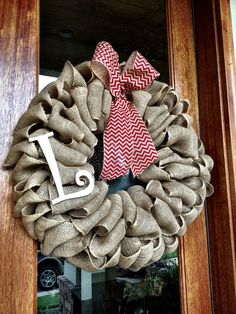 Custom Natural Burlap Monogram Wreath With  Chevron Burlap Bow on Etsy, $55.00