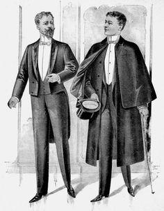Hombres en frac (izq.) y con abrigo inverness