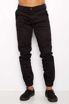 Mens Black Jogger Heft Brand Signature Khaki Twill Pants