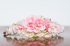 Floral Crown - Flower Halo in Pink and Ivory Flowers - Flowergirl hairpiece - Newborn Photo Prop - Wedding Crown - Floral Hairpiece by LittleLadyAccessory on Etsy Floral Crown, Crown Flower, Baby Easter Outfit, Birthday Tiara, Baby Boutique Clothing, Dress Up Day, Little Girl Birthday, Newborn Photo Props, Gold Flowers