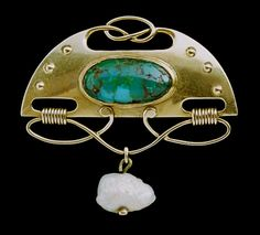 MURRLE BENNETT & CO Jugendstil Brooch Gold Turquoise Pearl #Golden
