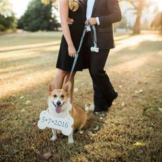 Specially made for pups, this sign is, paws down, the cutest way to announce your wedding date. It is hand-painted with vinyl to create crisp, clear lettering. Customize the size and colors.