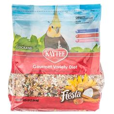 4.5lb Kaytee Fiesta Gourmet Variety Diet Cockatiel bird food is packed with a fortified mix of fruits, vegetables, seeds, and healthful whole grains, Fiesta contains essential nutrients for healthy birds. With balanced Omega-3 and Omega-6 Polyunsaturated