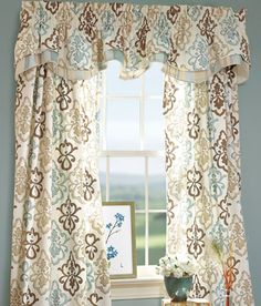 Medallion Print Lined Layered Scalloped Valance this would brighten up the light blue den