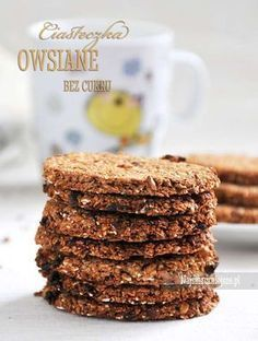 Ciasteczka owsiane bez cukru Healthy Cookies, Healthy Sweets, Healthy Baking, Polish Recipes, Gluten Free Baking, Dessert Recipes, Desserts, Coffee Recipes, Love Food