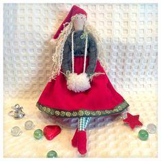 Tilda Santa turquoise Doll Handmade.Tilda doll - homemade Christmas, fabric doll, Santa Claus girl, tilda fabric, best present