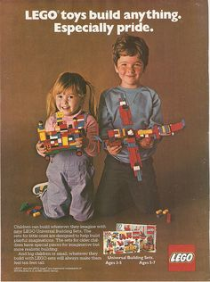 Remember when Lego sets didn't build anything in particular? And when the ads for Legos were gender-neutral? I loved Legos. And they didn't have to be pink and purple sparkly ones, either. Vintage Lego, Vintage Ads, Vintage Vibes, Vintage Stuff, Vintage Posters, Lego Friends, Legos, Turn Down For What, Gender Stereotypes