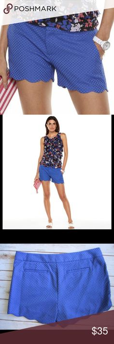 """ELLE Dazzling Blue Textured Scallop-Hem Shorts NWT ELLE dazzling blue textured design and scalloped hems combine to give you a fun, feminine look! AS SEEN IN LIFE & STYLE MAGAZINE  *2-pockets, zipper fly *Midrise sits above the hip *Polyester, spandex *Machine wash *Waist 35"""", Rise 11.5"""" Inseam 3.5""""  *Bundle Discounts * No Trades * Smoke free Elle Shorts"""