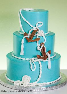 Nautical wedding cake. Beach wedding | Jacques Pastries  I'm thinking the rope and horseshoes.... Or maybe just the rope?