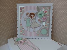 Card made with Stamping Bella Uptown Girls Victoria and Juliette's night out stamp.