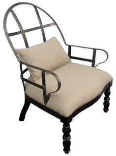 GCHA146MT  The Restored Chair  Metal/Birch wood  Linen Fabric  28X27X39H