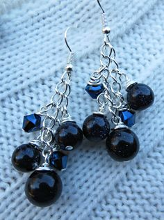 Dark Blue Goldstone and Chain Dangle Pierced Earrings by SparkleCatStudio.  25% of proceeds donated to animal rescues in Burlington NC.  Find us on Facebook: https://www.facebook.com/SparkleCatStudio