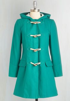A Win-Wind Situation Coat. Windy or not - every day is a stylish success when youre clad in the quirky details of this teal-green coat from Spanish brand Kling. #green #modcloth