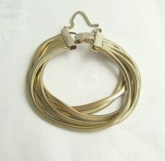 5 Strand Serpentine Chain Bracelet Goldtone with Safety Chain Vintage Jewelry