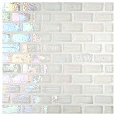 """Complete Tile Collection Luna Glass Mosaic - White - Pearl, 1/2"""" x 1"""" Mini Brick Recycled Glass Mosaic, MI#: 038-G2-260-311, Color: White"""