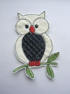 Owl Felt Animal Bird Applique Patch | dahliasoleil - Needlecraft on ArtFire