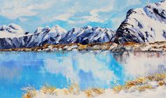 Mustering sheep at Glentanner Station, Mount Cook (water colour) Living In New Zealand, New Zealand Art, Terry Redlin, Robert Duncan, New Zealand Landscape, Milford Sound, Thomas Kinkade, Stunning View, Mount Cook