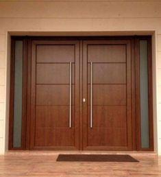 PUERTA DOS HOJAS CON CRISTAL Wooden Front Door Design, Wooden Double Doors, Modern Wooden Doors, Double Door Design, Contemporary Front Doors, Wooden Front Doors, The Doors, Home Door Design, House Gate Design