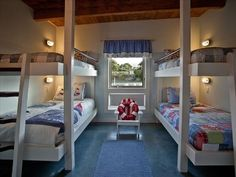 Nautical bunk room: 4 twin beds each with individually switched reading light Oregon Vacation, Bunk Beds, Twin Beds, Bedroom Themes, Coastal Homes, Diy Furniture, Home And Family, Sweet Home, Cabin Bedrooms