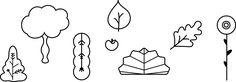 Digitale schetsen van elementen in een bos