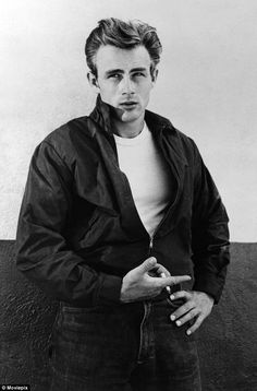 James Dean poses for a Warner Bros publicity shot for his film Rebel Without A Cause in 1955 in Los Angeles