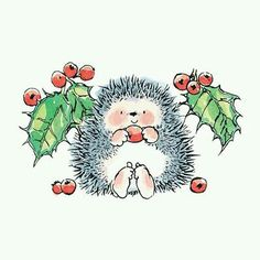 Christmas Hedgehog. Watercolor Christmas Cards, Christmas Drawing, Watercolor Cards, Christmas Rock, Christmas Time, Christmas Crafts, Merry Christmas, Hedgehog Illustration, Cute Illustration