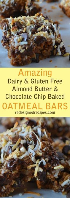 Almond Butter Chocolate Chip Baked Oatmeal Bars (Vegan, Dairy-Free, Gluten-Free, Peanut-Free) Almond Butter Chocolate Chip Baked Oatmeal Bars – A plant-based delicious breakfast - Delicious Vegan Recipes Gluten Free Sweets, Gluten Free Baking, Vegan Sweets, Dairy Free Recipes, Healthy Desserts, Delicious Desserts, Dessert Recipes, Gluten Dairy Free, Healthy Recipes