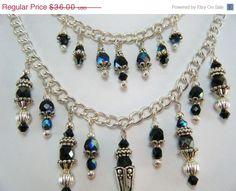 Sale Black Multi Strand Necklace / Beaded Clusters by JewelryBySky, $28.80