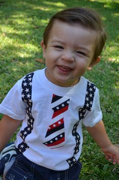 Baby Boy Patriotic Tie Tee T-Shirt  Tie with Suspenders RED WHITE BLUE Stars and Stripes Photo Prop  Summer Birthday Outfit. $18.00, via Etsy.