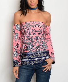 Take a look at this Peach & Navy Floral Off-Shoulder Top today!